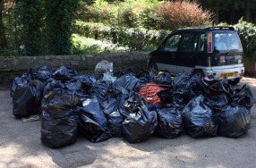 The 100 bags of rubbish collected during the two-hour litter pick.