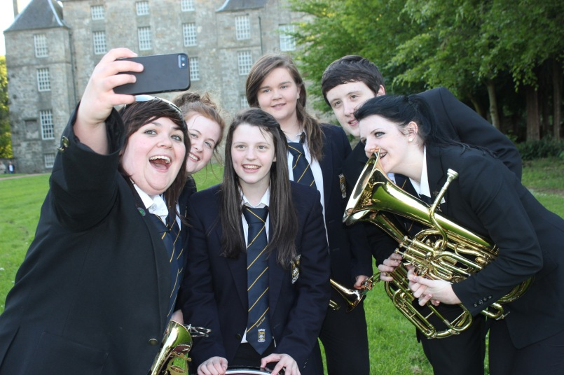 "Kinneil Band do a ""selfie"" at Kinneil"