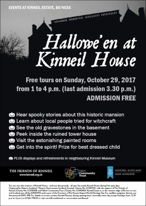 Poster for the Halloween event at Kinneil House in 2017.